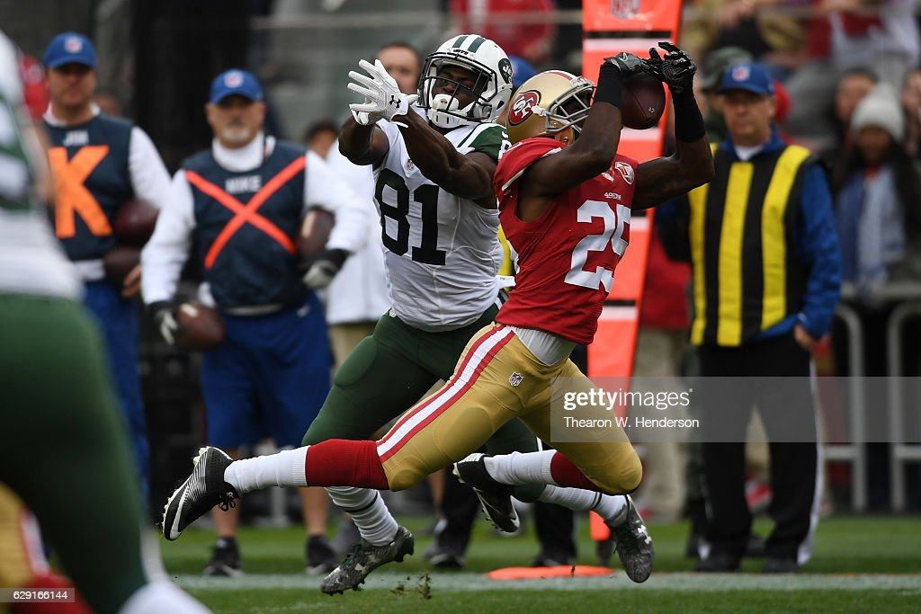 Jimmie Ward #25 of the San Francisco 49ers intercepts a pass intended for Quincy Enunwa #81 of the New York Jets in the first quarter of their NFL game at Levi's Stadium on December 11, 2016 in Santa Clara, California.