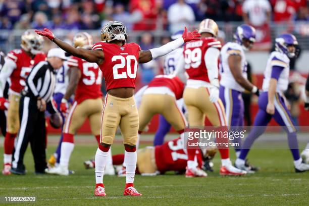 Jimmie Ward of the San Francisco 49ers reacts after a play against the Minnesota Vikings during the NFC Divisional Round Playoff game at Levi's...