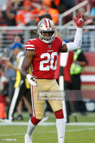 Jimmie Ward of the San Francisco 49ers reacts after a play in the first half against the Cleveland Browns at Levi's Stadium on October 07, 2019 in...