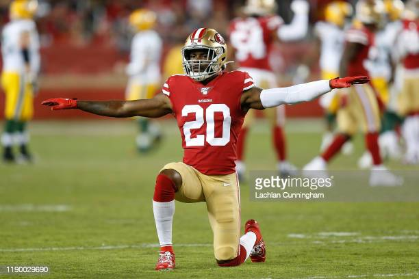 Jimmie Ward of the San Francisco 49ers reacts after making a defensive play in the first quarter against the Green Bay Packers at Levi's Stadium on...