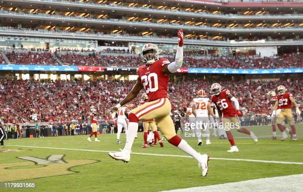 Jimmie Ward of the San Francisco 49ers reacts after making a tackle against the Cleveland Browns at Levi's Stadium on October 07, 2019 in Santa...