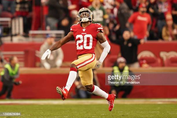 Jimmie Ward of the San Francisco 49ers reacts to a play in the first half against the Green Bay Packers during the NFC Championship game at Levi's...