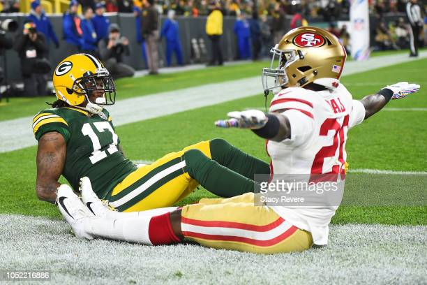 Jimmie Ward of the San Francisco 49ers reacts to an incomplete pass intended for Davante Adams of the Green Bay Packers during the first quarter at...