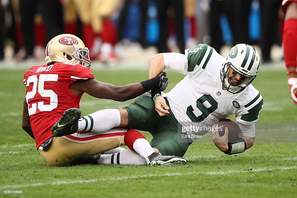 Jimmie Ward #25 of the San Francisco 49ers sacks Bryce Petty #9 of the New York Jets during their NFL game at Levi's Stadium on December 11, 2016 in Santa Clara, California.