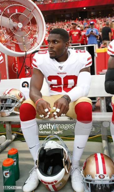 Jimmie Ward of the San Francisco 49ers sits on the sideline prior to game against the Kansas City Chiefs at Arrowhead Stadium on August 24, 2019 in...