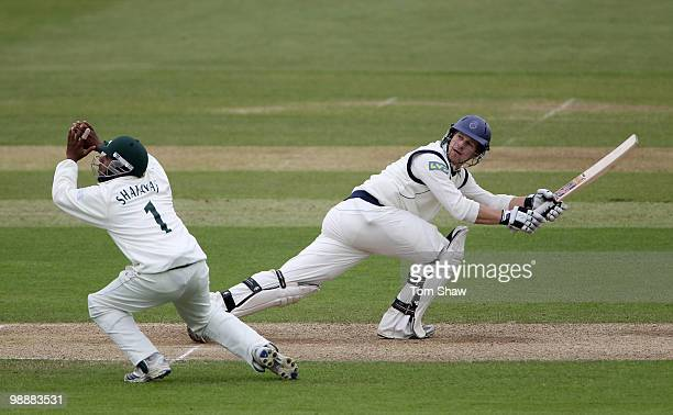 Jimmy Adams of Hampshire hits out during the LV County Championship match between Hampshire and Nottinghamshire at The Rose Bowl on May 6 2010 in...