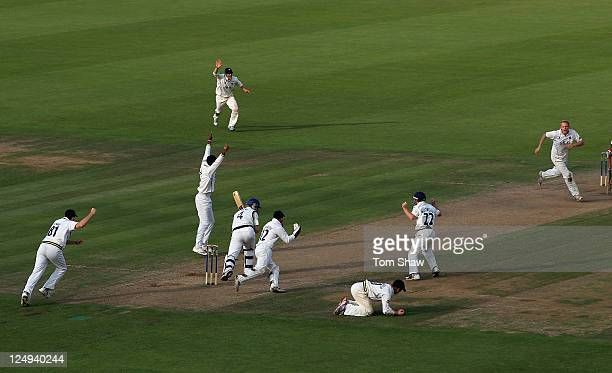 Jimmy Adams of Hampshire is caught by William Porterfield of Warwickshire off the bowling of Chris Metters of Warwickshire during the LV County...