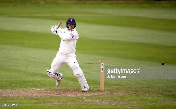 Jimmy Adams of Hampshire scores runs during Day One of the Specsavers County Championship Division One match between Somerset and Hampshire at The...