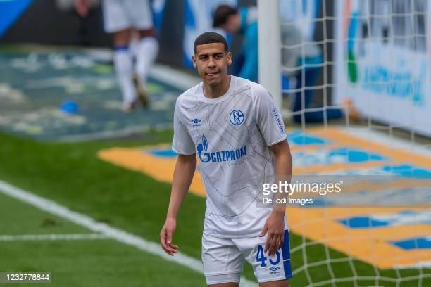 Jimmy Adrian Kaparos of FC Schalke 04 Looks on during the Bundesliga match between TSG Hoffenheim and FC Schalke 04 at PreZero-Arena on May 8, 2021...