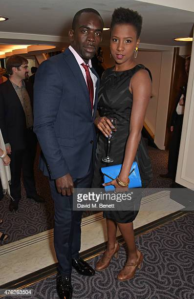 Jimmy Akingbola and Jade Anouka attend the South Bank Sky Arts awards at The Savoy Hotel on June 7, 2015 in London, England.