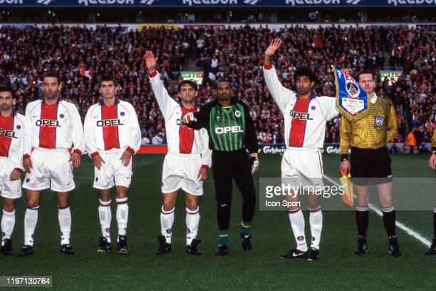 Jimmy Algerino Paul Le Guen Jerome Leroy Laurent Fournier Bernard Lama and Rai of PSG during the SemiFinal UEFA Cup Winners Cup match between...