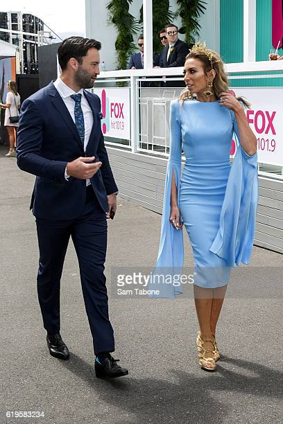 Jimmy and Nadia Bartel arrives at Melbourne Cup Day at Flemington Racecourse on November 1, 2016 in Melbourne, Australia.