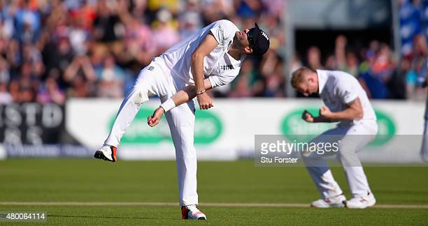 Jimmy Anderson celebrates after catching Australia batsman Adam Voges off the bowling of Ben Stokes during day two of the 1st Investec Ashes Test...