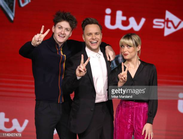 Jimmy Balito Olly Murs and Molly Hocking attend The Voice UK Final 2019 photocall at Elstree Studios on April 04 2019 in Borehamwood England