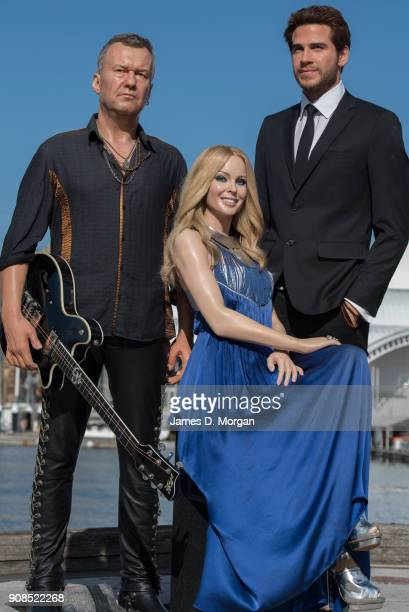 Jimmy Barnes Kylie Minogue and Liam Hemsworth iconic Australian figures from Madame Tussauds Sydney step out in Darling Harbour ahead of Australia...