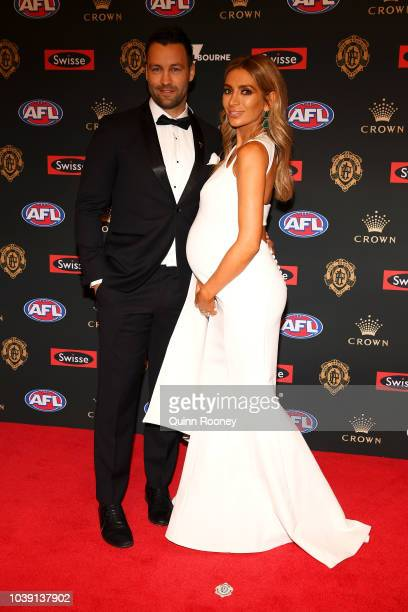 Jimmy Bartel and Nadia Bartel arrive ahead of the 2018 Brownlow Medal at Crown Entertainment Complex on September 24, 2018 in Melbourne, Australia.