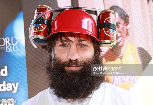 Jimmy Bartel as Happy Gilmore's caddy during the Geelong Cats AFL post-season celebrations at the Lord of Isles Hotel on September 28, 2016 in...