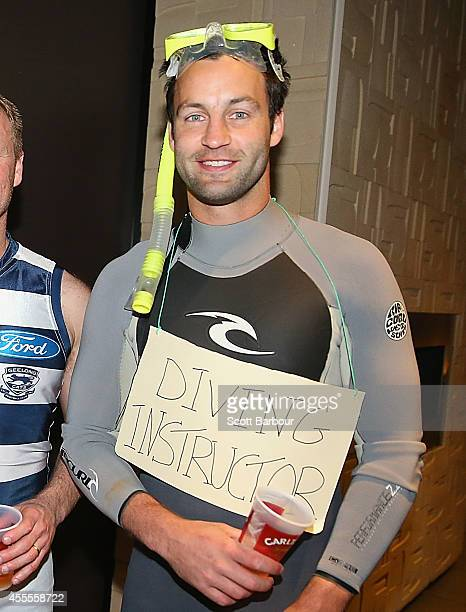 Jimmy Bartel of the Cats dressed as a diving instructor poses at the Geelong Cats AFL post season celebrations at Lord of The Isles Hotel on...