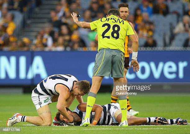 Jimmy Bartel of the Cats is attended to by Joel Selwood after being knocked out during the round one AFL match between the Hawthorn Hawks and the...