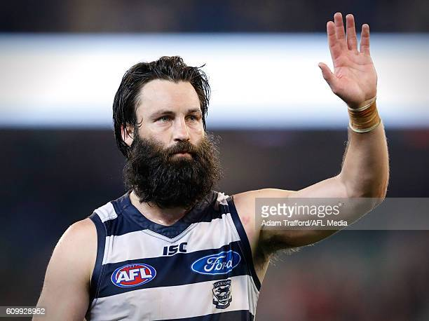 Jimmy Bartel of the Cats looks dejected after a loss during the 2016 AFL Second Preliminary Final match between the Geelong Cats and the Sydney Swans...