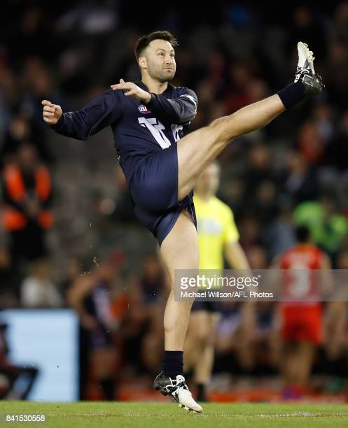 Jimmy Bartel of Victoria kicks the ball during the 2017 EJ Whitten Legends Game between Victoria and the All Stars at Etihad Stadium on September 1,...