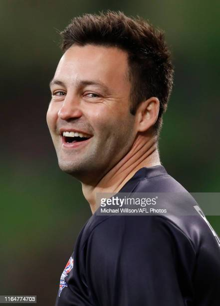 Jimmy Bartel of Victoria looks on during the 2019 EJ Whitten Legends Game between Victoria and the All Stars at AAMI Park on August 30, 2019 in...