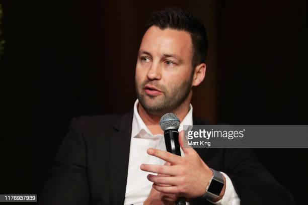Jimmy Bartel speaks on a panel during a Greater Western Sydney Giants media opportunity at The Star on September 25, 2019 in Sydney, Australia.