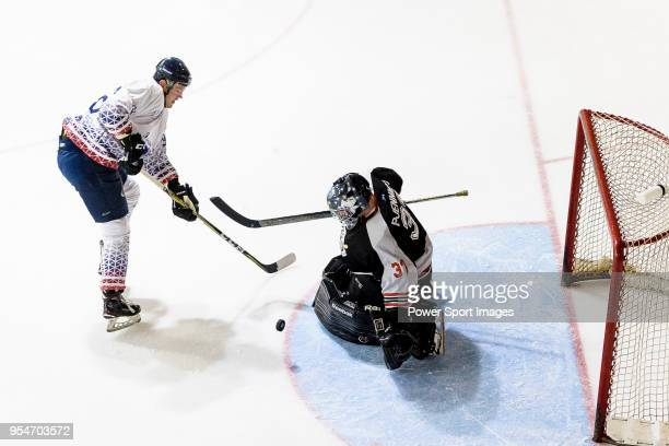 Jimmy Bjennmyr of Nordic Vikings makes a save on Luc Delecour of Flying French during the Mega Ice Hockey 5s match between Nordic Vikings and Flying...