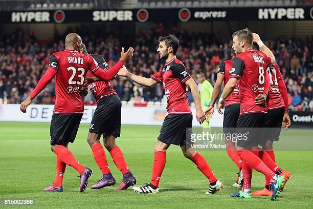 Jimmy Briand of Guingamp and Christophe Kerbrat of Guingamp during the Ligue 1 match between EA Guingamp and Lille OCS at Stade du Roudourou on...