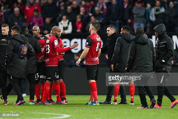 Jimmy Briand of Guingamp and Jocelyn Gourvennec headcoach of Bordeaux during the Ligue 1 match between En Avant Guingamp and Girondins de Bordeaux at...