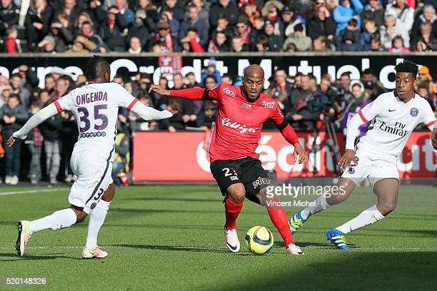 Jimmy Briand of Guingamp during the French League 1 match between EA Guingamp and Paris SaintGermain on April 9 2016 in Guingamp France