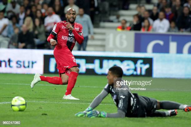 Jimmy Briand of Guingamp in action during the Ligue 1 match between Toulouse and EA Guingamp at Stadium Municipal on May 19 2018 in Toulouse