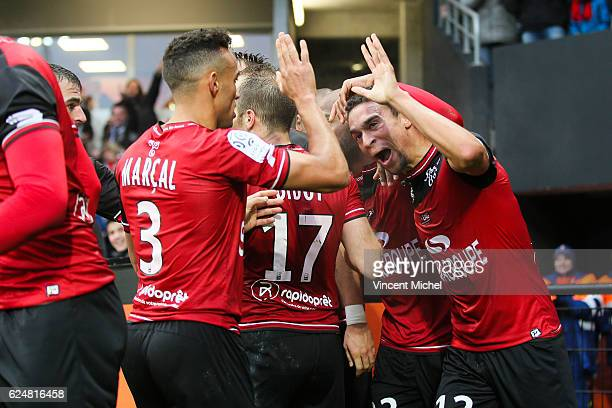 Jimmy Briand of Guingamp jubilates after scoring the 11 draw during the Ligue 1 match between En Avant Guingamp and Girondins de Bordeaux at Stade du...