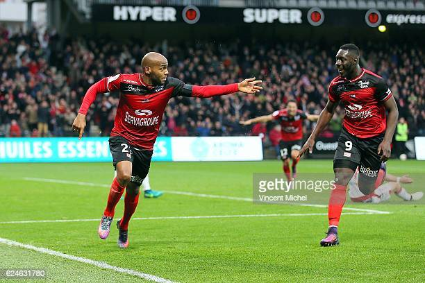 Jimmy Briand of Guingamp jubilates as he scores for the 11 draw during the Ligue 1 match between En Avant Guingamp and Girondins de Bordeaux at Stade...