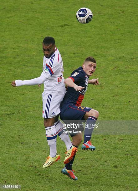 Jimmy Briand of Olympique Lyonnais and Marco Verratti of Paris SaintGermain in action during the French Finale League Cup between Paris SaintGermain...