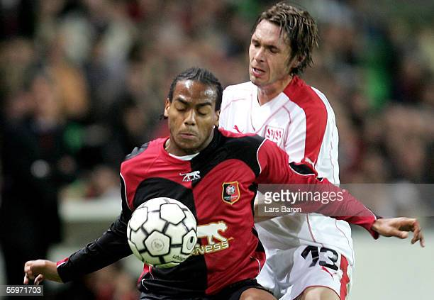 Jimmy Briand of Rennes in action with Christian Tiffert of Stuttgart during the UEFA Cup Group G match between Stade Rennais FC and VfB Stuttgart at...