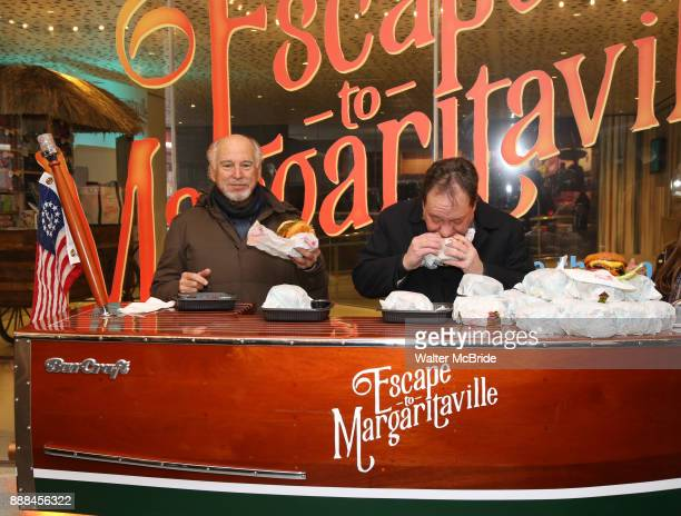 Jimmy Buffett and James Nederlander Jr hand out free hamburgers as they offically open up the Box Office for his Broadway Musical 'Escape To...