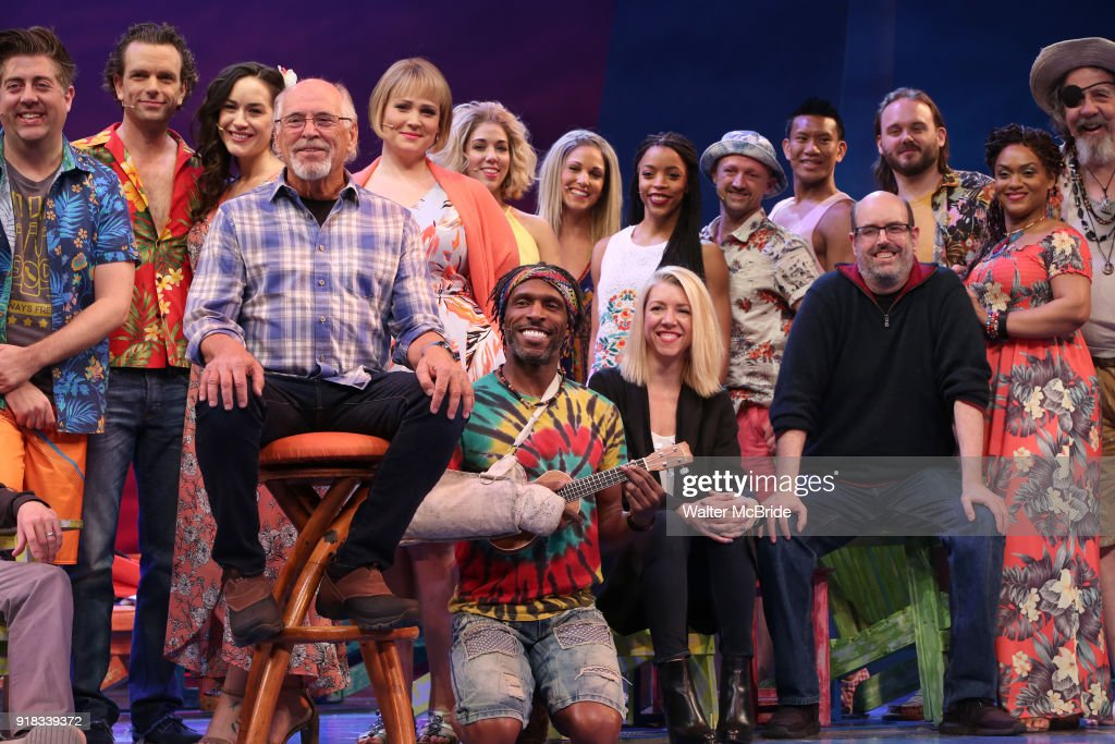 Jimmy Buffett, Kelly Devine and Christopher Ashley with cast during the Press Sneak Peak for the Jimmy Buffett Broadway Musical 'Escape to Margaritaville' on February 14, 2018 at the Marquis Theatre in New York City.