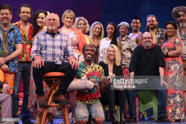 Jimmy Buffett Kelly Devine and Christopher Ashley with cast during the Press Sneak Peak for the Jimmy Buffett Broadway Musical 'Escape to...