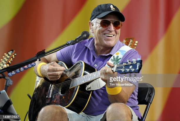 Jimmy Buffett performs an Acoustic set with Mac McAnally as part of the 2012 New Orleans Jazz Heritage Festival at Fair Grounds Race Course on May 3...