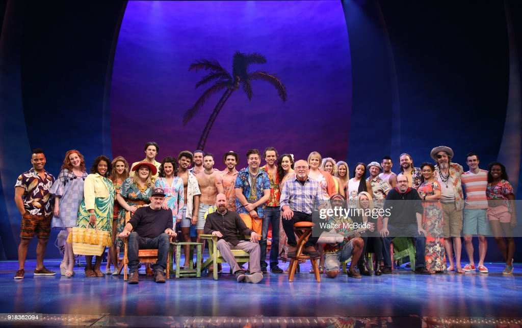 Jimmy Buffett with the cast and creative team during the Press Sneak Peak for the Jimmy Buffett Broadway Musical 'Escape to Margaritaville' on February 14, 2018 at the Marquis Theatre in New York City.