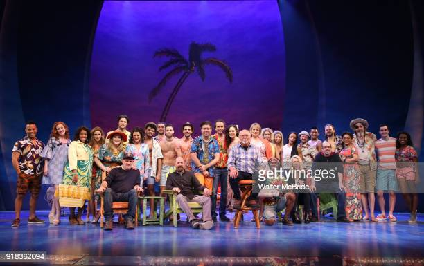 Jimmy Buffett with the cast and creative team during the Press Sneak Peak for the Jimmy Buffett Broadway Musical 'Escape to Margaritaville' on...