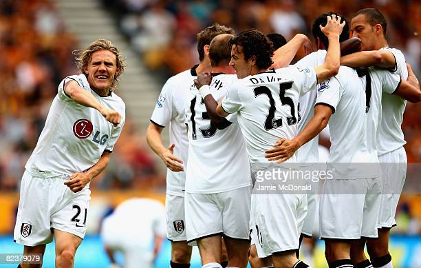 Jimmy Bullard of Fulham celebrates Fulhams first goal during the Barclays Premier League match between Hull Ciy and Fulham at the KC Stadium on...
