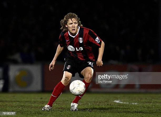 Jimmy Bullard of Fulham passes the ball during the FA Cup sponsored by E.ON 3rd Round Replay between Bristol Rovers and Fulham at Memorial Stadium on...