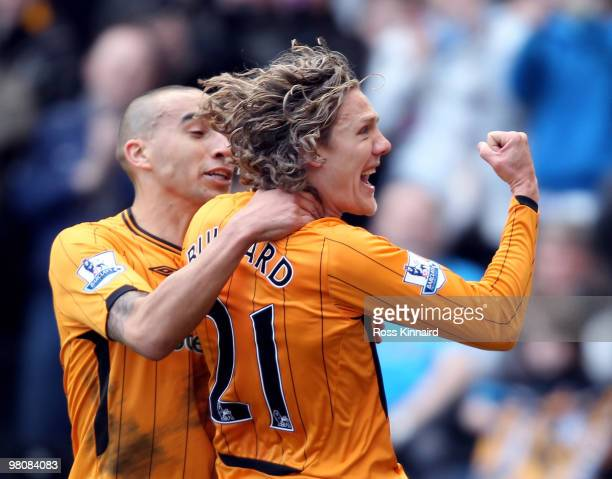 Jimmy Bullard of Hull celebrates after scoring the opening goal during the Barclays Premier League match between Hull City and Fulham at the KC...