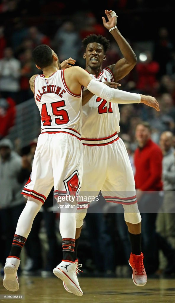 Jimmy Butler and Denzel Valentine of the Chicago Bulls