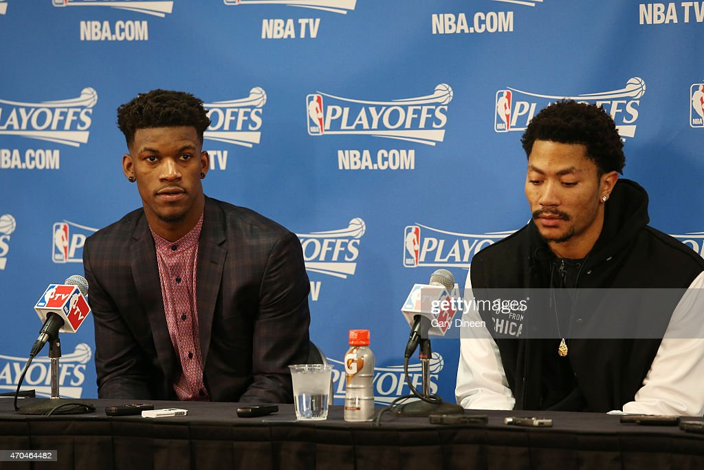 Jimmy Butler #21 and Derrick Rose #1 of the Chicago Bulls speak to the media after a game the Milwaukee Bucks in Game One of the Eastern Conference Quarterfinals during the NBA Playoffs on April 18, 2015 at the United Center in Chicago, Illinois.