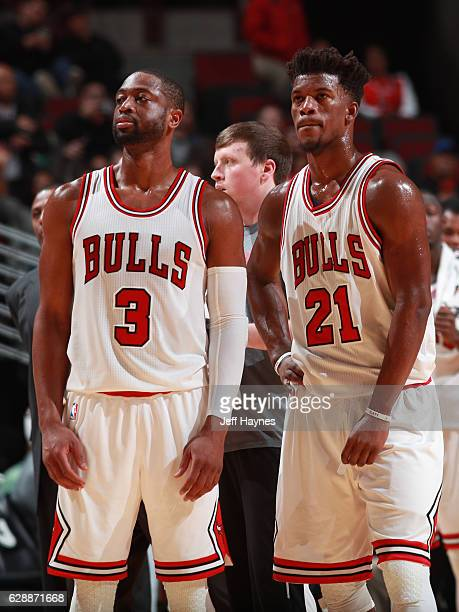 Jimmy Butler and Dwyane Wade of the Chicago Bulls look on during the game against the Portland Trail Blazers on December 5 2016 at the United Center...