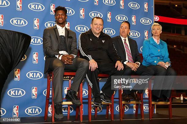 Jimmy Butler head coach Tom Thibodeau and GM Gar Forman of the Chicago Bulls with KIA Motors Stephanie Janiunas during the 201415 KIA NBA Most...