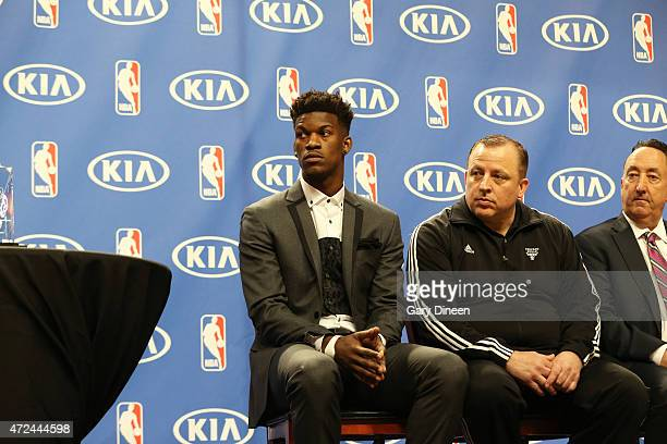 Jimmy Butler head coach Tom Thibodeau and GM Gar Forman of the Chicago Bulls during the 201415 KIA NBA Most Improved Player Award on May 7 2015 at...